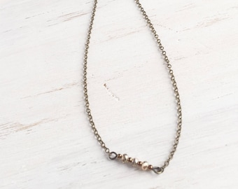 Bronze Delicate Short Necklace with Beads, Simple Jewelry, Layer Jewelry, Bronze Jewelry
