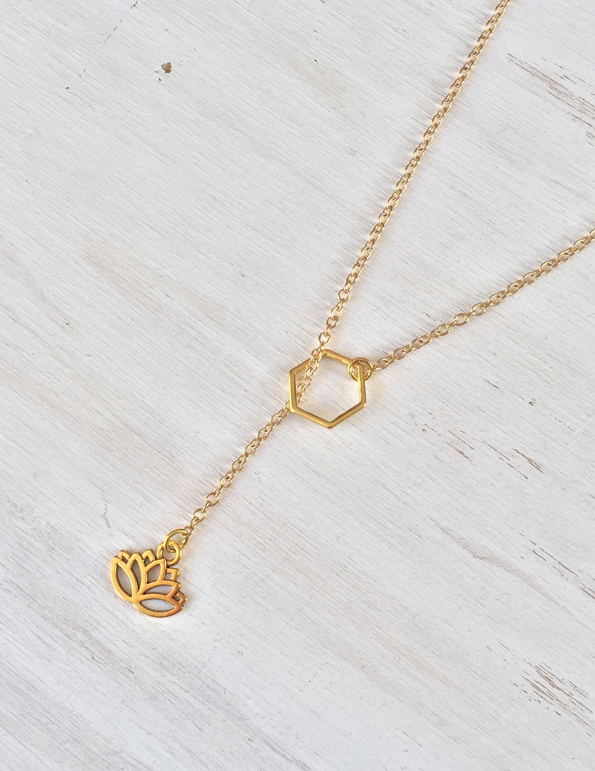 Gold lotus flower slip on lariat necklace y necklace long necklace gold lotus flower slip on lariat necklace y necklace long necklace delicate jewelry gold jewelry flower jewelry gift for her izmirmasajfo