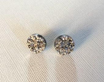 Silver druzy circle stud earrings