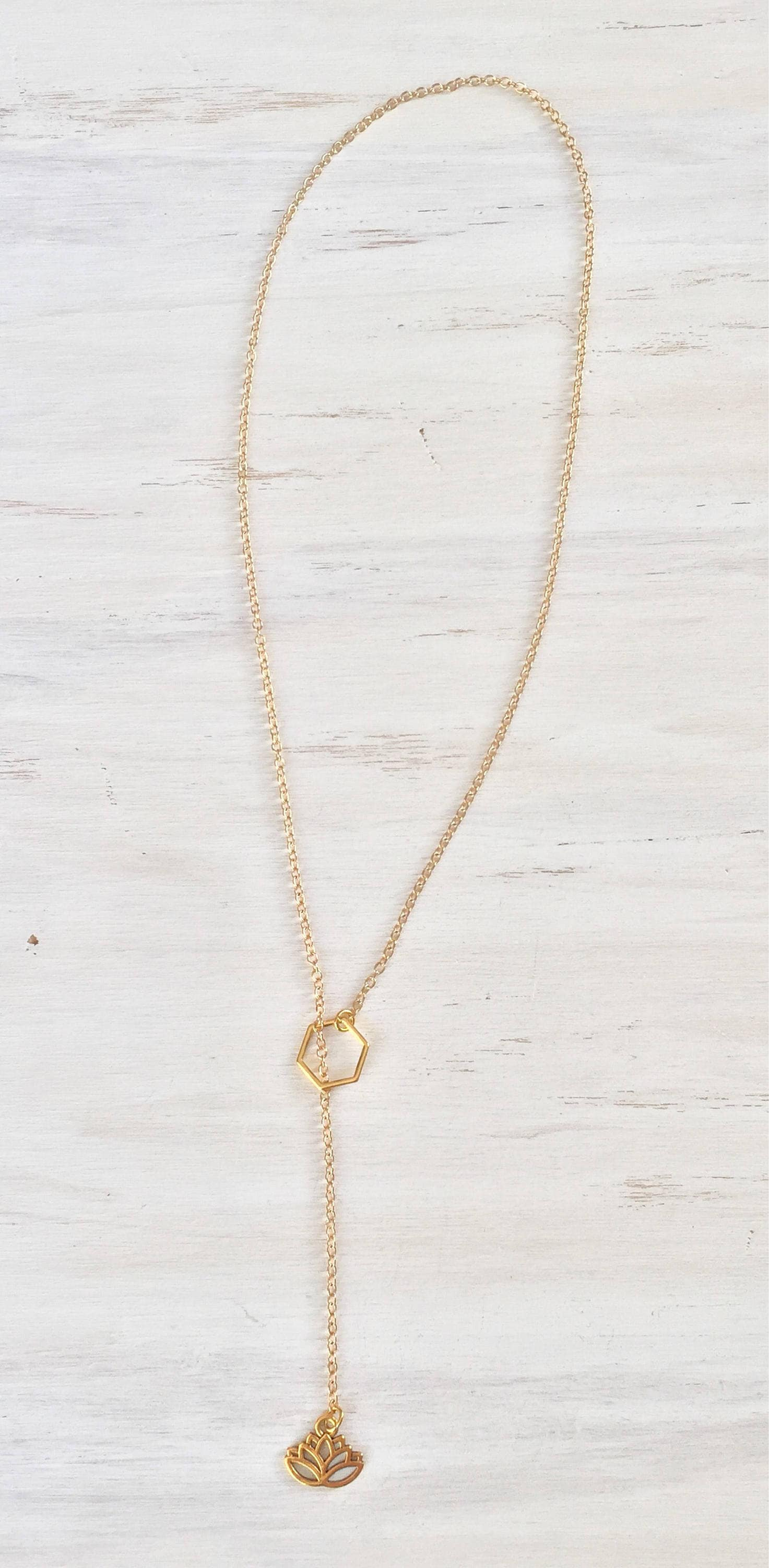 Gold Lotus Flower Slip On Lariat Necklace Y Necklace Long Necklace