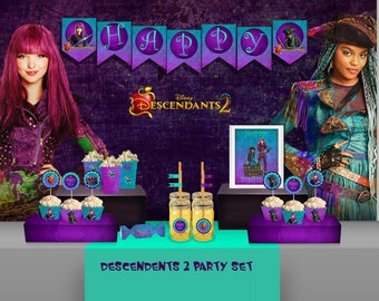 Descendants 2 Birthday Party Decoration BannerDescendants Invitation