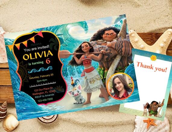 Moana Invitation Birthday Disney