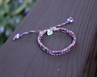 "Adjustable ""Americana"" Tie-Dye Hemp Bracelet"