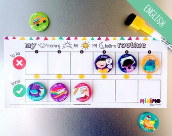 My Daily Routine board extension - Routine chart for children - Magnets - Dry-erase magnetic board - Minimo playful motivation