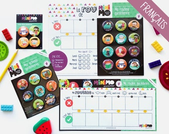Little Teen Under 5 Motivational Kit - Routine chart for children - Magnets - Dry-erase magnetic board - Minimo playful motivation