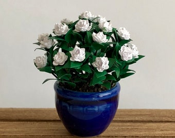 Dollhouse Miniature Gardenia Bush in Ceramic Planter Artist Made