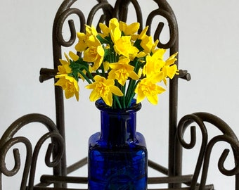 Dollhouse Miniature Yellow Daffodils in Vase Artist Made