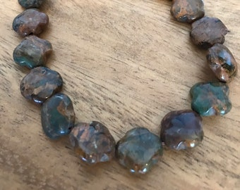 Brown and green Jasper cross shaped beads (4 pieces)