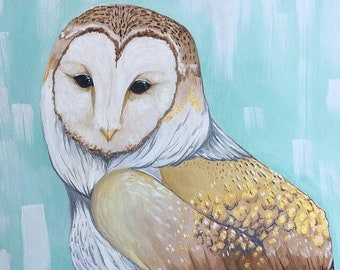 "Barn Owl Acrylic Painting with Golden Accents (16x20"")"