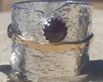 Textured Tall Garnet Ring