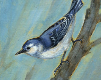 Nuthatch painting, bird art, Nuthatch Art, Oil Painting, Bird Watcher Gift, Original Oil Painting, Bird Wall Decor, Nuthatch Art, Blue Bird