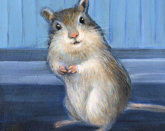 Gerbil, Happy Gerbil Print, Small Animal Art, Animal Print, Art Print for Child's Room, Art for Kid's room, Animal Art, Blue, Original Art