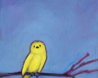 Yellow Baby Bird, Oil Painting, Nursery Decor, Baby Shower Gift, Bird Art, Bird Wall Decor, Baby Room Art, Nursery Decor