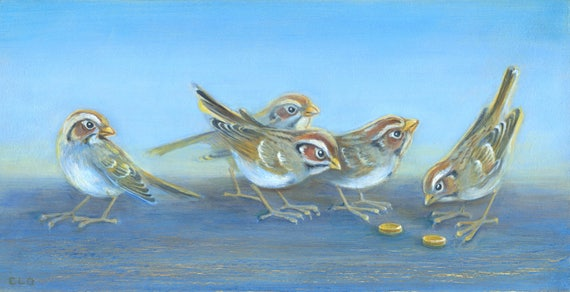 Bible Art Five Sparrows Sparrows And Coins Luke 126 Etsy