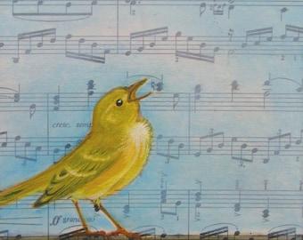 Pachelbel Warbler, bird painting, vintage music, one of a kind, original oil painting, gift for music lover, OOAK Art