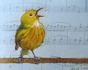 Bach Warbler, Bird Art, Gift for Musician, Original Bird Painting