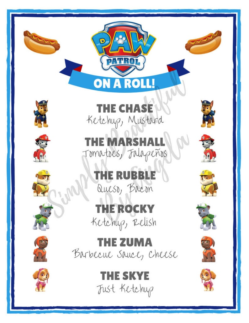 image about Menu Printable named Paw Patrol Occasion Incredibly hot Pet Menu Printable PDF