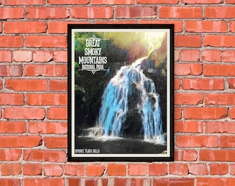 Great Smoky Mountains National Park - Spruce Flats Falls - Version 2 - Print Poster Artwork