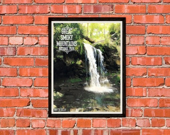 Great Smoky Mountains National Park - Grotto Falls - Print Poster Artwork