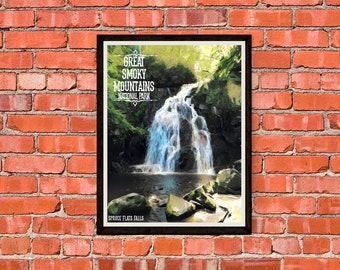 Great Smoky Mountains National Park - Spruce Flats Falls - Version 1 - Print Poster Artwork