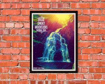 Great Smoky Mountains National Park - Spruce Flats Falls - Version 3 - Print Poster Artwork