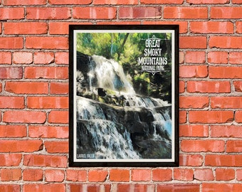 Great Smoky Mountains National Park - Laurel Falls - Print Poster Artwork