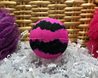 Obsidian Pink Midnight Vanilla Bath Bomb Large 6.5oz, Black Bath Bomb, Gift, Vegan Bath Bomb, Bath Fizzy, Black Bath Bomb Ready to Ship Gift