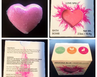 Pink Love Spell Heart Bath Bomb, Bath Bombs for Kids, Great for Gifts, Good for Sensitive Skin, Handmade Vegan and Cruelty Free