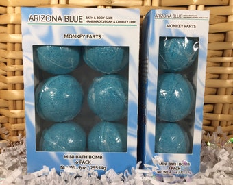 SALE Monkey Farts Bath Bomb Multipacks, Teal Aqua Bath Bomb 3 & 6 Pack, Great Value, Gift Set, Handmade, Vegan and Cruelty Free, Wholesale