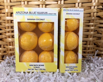 SALE!! Bath Bomb 3 & 6 Packs, Banana Coconut Color and Fragrance, Bright Yellow Bath Fizzy, Wholesale bath bombs, Ready to Ship Gift Set