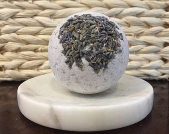 Sale! Lavender Bud Aromatherapy Bath Bomb, real Lavender, Kaolin Clay, Sunflower Coconut and Grapeseed Oils, Super Soft Skin! Large 6 oz