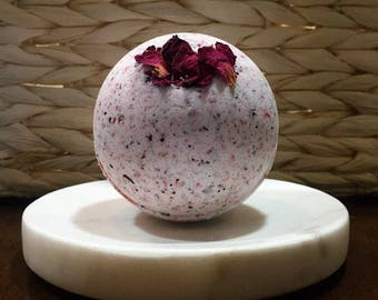 Decadent Rose Aromatherapy Bath Bombs, 4 size Skin Nurturing Rose Petal, Kaolin Clay, Sunflower Coconut and Grapeseed Oil, Natural Bath Bomb