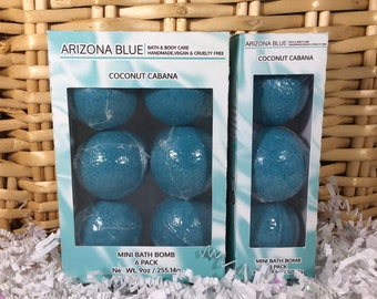 SALE Coconut Cabana Bath Bomb Multipacks, Teal Aqua Bath Bomb 3 & 6 Pack, Great Value, Gift Set, Handmade, Vegan and Cruelty Free, Wholesale