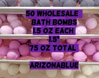50 Assorted Bath Bombs Free Shipping! 5 POUNDS!, 1.5oz Each, Wholesale price,    ArizonaBlueCO, Vegan Bath Bomb, Many Colors and Scents Ava