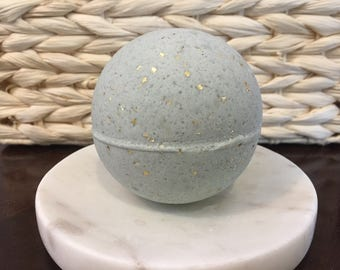 Love Spell Obsidian Gray Meteor Glitter Bath Bomb, Bath Fizzy 4.5 oz size, Soothing/Softens Skin, Relax and Unwind, Handmade, silky smooth