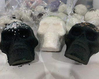 Clearance! Obsidian Black Skull Bath Bomb, handmade, bath bombs, custom made to order,black bath Huge 13oz size!