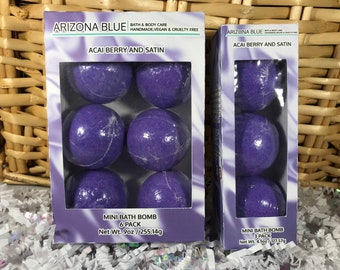 SALE Acai Berries and Satin Bath Bomb Multipacks // Bath Bomb 3 & 6 Pack // Great Value, Gift Set // Handmade, Vegan and Cruelty Free