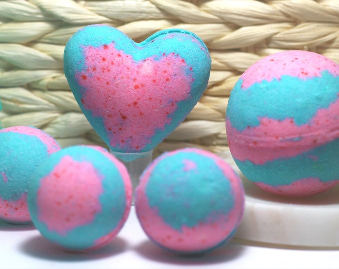 Featured listing image: Best Seller! Cotton Candy Bath Bombs! Many Sizes, Handmade Bath Bombs, Blue and Pink Bath Bomb, Cotton Candy Swirl, ArizonaBlueCo,Vegan