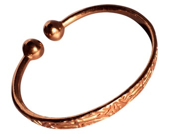 e2cf1c16680 Magnetic Solid Copper - Aztec Pattern Torque Bracelet