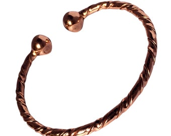 2009b94128f Magnetic Solid Copper - Twisted Copper Torque Bracelet