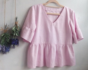Linen Top / Relax Pop Over Baby Doll Style Blouse, Ruffle Bell Sleeves