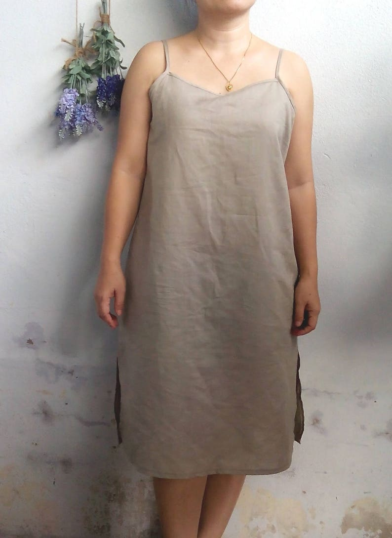 eab989a6383 Linen Slip Dress   Spaghetti Strap Linen Dress Bridesmaid