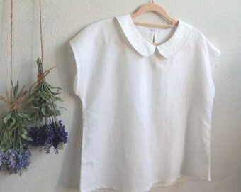 Linen Top / RIA Minimalist PeterPan Collar Linen Blouse