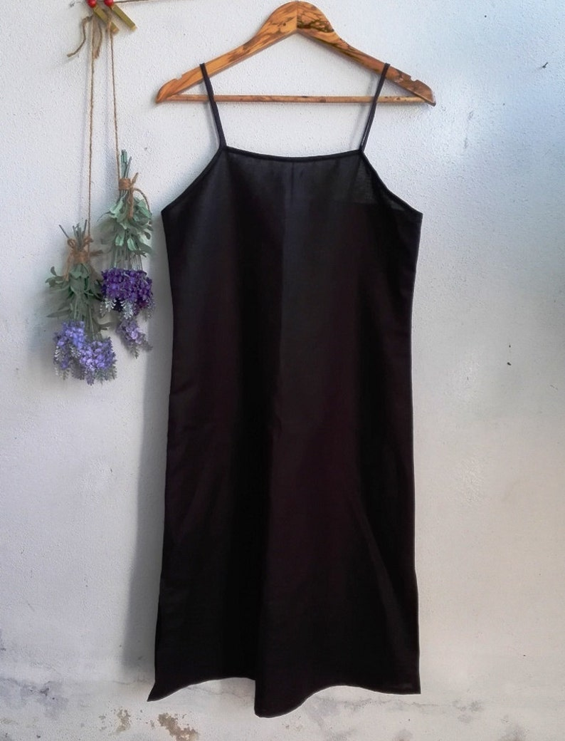 692a63e11b09c Linen Slip Dress   Women Linen Dress Bride Slip Dress Black