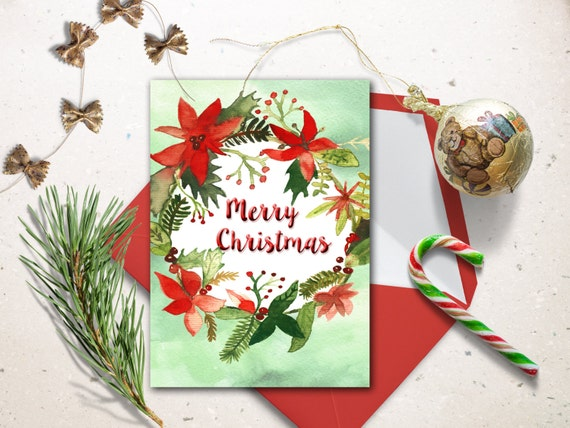 Digital Christmas Cards.Digital Christmas Card Watercolor Christmas Printable Card Christmas Wreath Cards Christmas Decoration