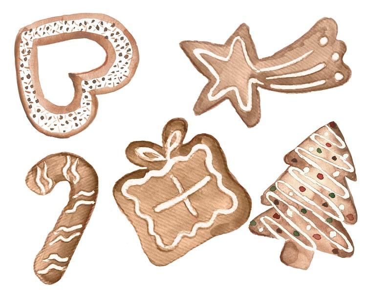 Weihnachtsgebäck Clipart.Weihnachtsplätzchen Klammer Weihnachtsgebäck Kunst Weihnachten Süßigkeiten Clipart Aquarell Von Hand Bemalt