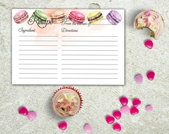 Recipe Card Printable Instant Download Recipe Card Watercolor French macarons Cake and Deserts Recipe Card Hand Painted Food DIY Recipe Card