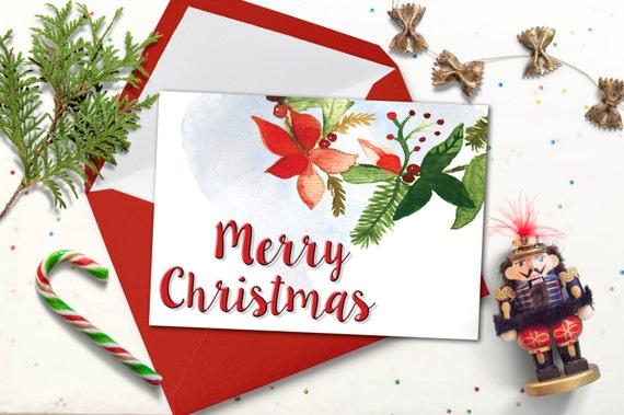Digital Christmas Cards.Printable Christmas Card Watercolor Digital Christmas Cards Christmas Greeting Card Download Xmas Card Printable