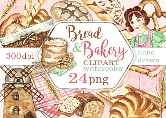 Bread And Bakery Clip Art Kitchen Clipart Cooking Images Etsy