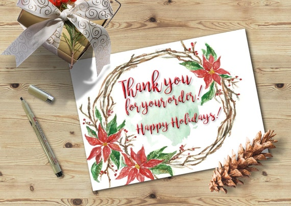 Thank You For Your Order Christmas Thank You Card Printable Thank You Card Watercolor Thank You Card